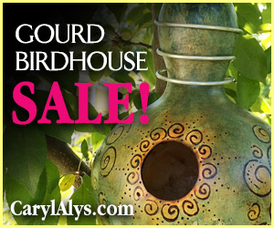 Handmade Gourd Birdhouses on sale! CarylAlys.com