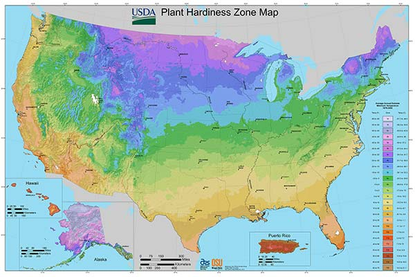 USDA Horticultural Planting & Hardiness Zone Map